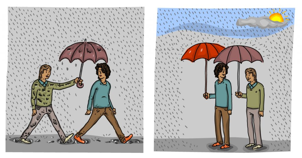 rain storm offering umbrella What is a Helper? | Rachel Goodman | Psychotherapy | Berkeley, CA